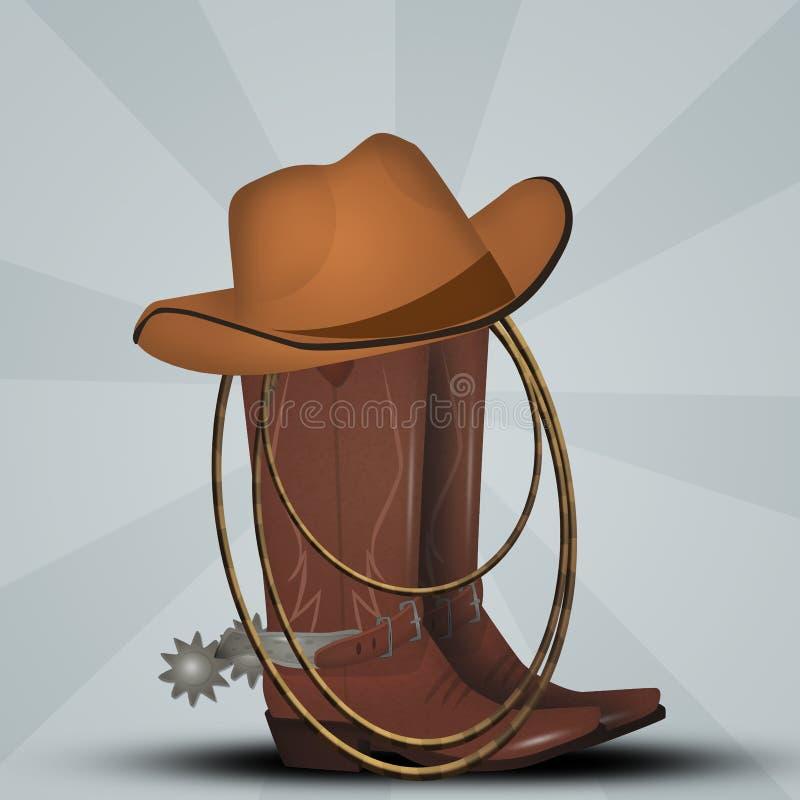 牛仔靴、帽子和套索 皇族释放例证