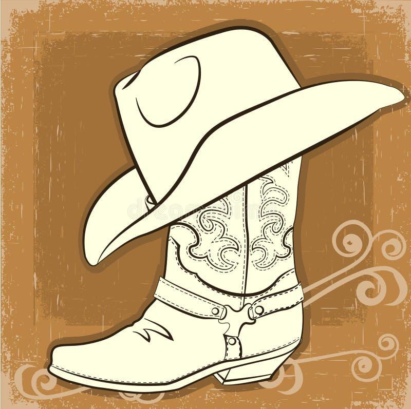 牛仔靴和帽子。向量葡萄酒图象 库存例证