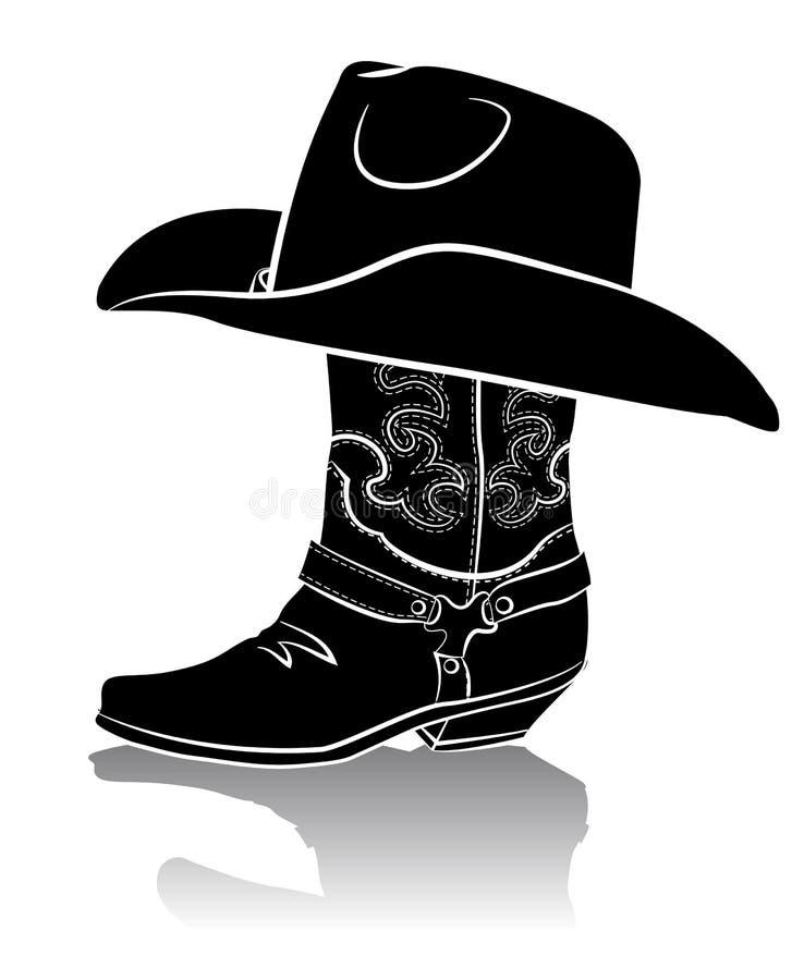 牛仔靴和西部帽子。黑色图象 库存例证