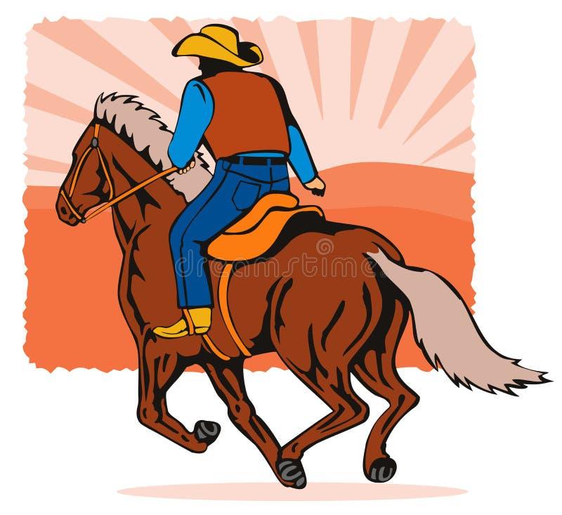 牛仔马骑术日落 向量例证