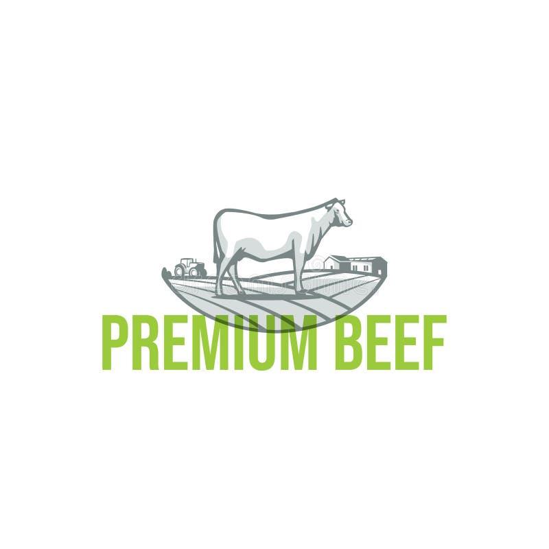牛和风景例证 免版税库存照片