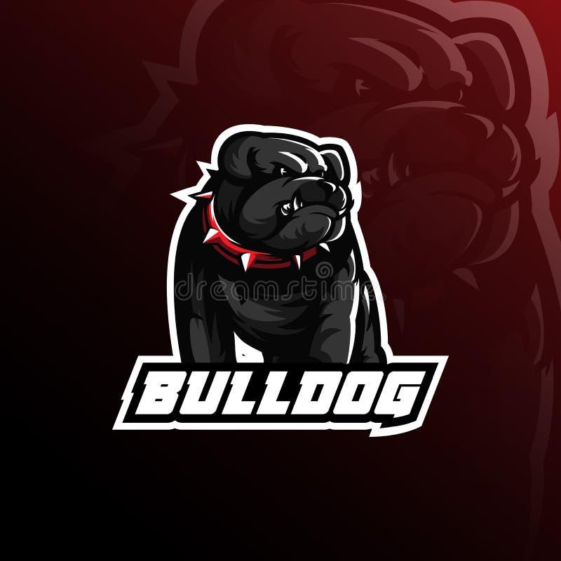 牛头犬传染媒介吉祥人与现代例证概念样式的商标设计徽章、象征和T恤杉打印的 恼怒的牛头犬 向量例证