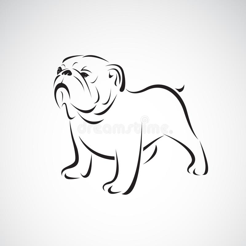 牛头犬传染媒介在白色背景的 宠物 茴香 狗商标或象 容易的编辑可能的层状传染媒介例证 皇族释放例证