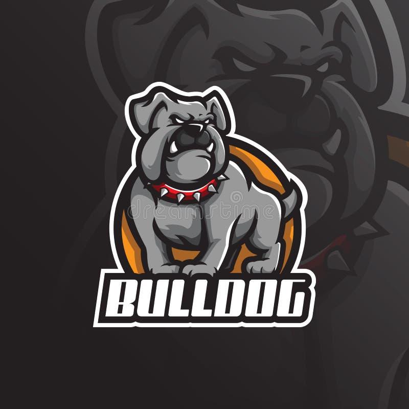 牛头犬吉祥人商标与现代例证概念样式的设计传染媒介徽章、象征和T恤杉打印的 恼怒的狗 库存例证