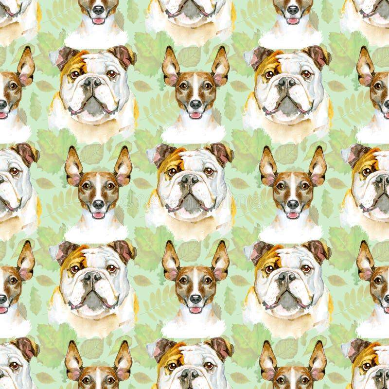 牛头犬和起重器罗素狗的水彩无缝的样式 宠物,小狗背景 动物墙纸 皇族释放例证