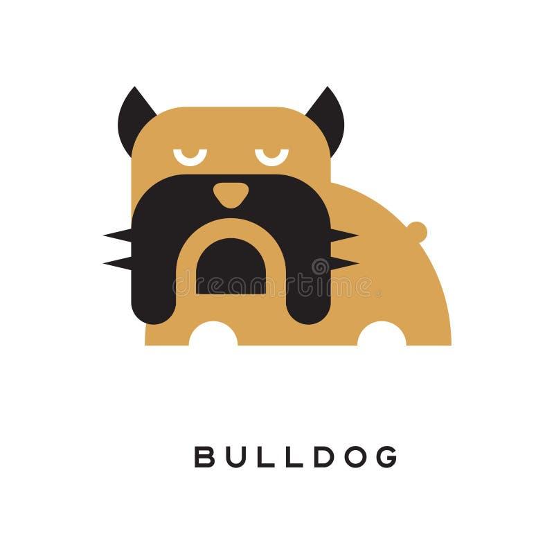 牛头犬的平的传染媒介例证与起皱纹的面孔的 向量例证