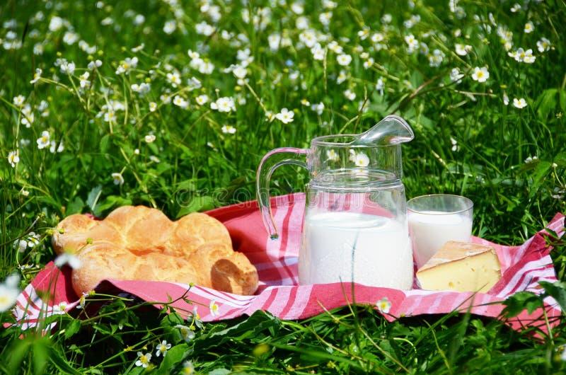 牛奶、干酪和面包 库存图片