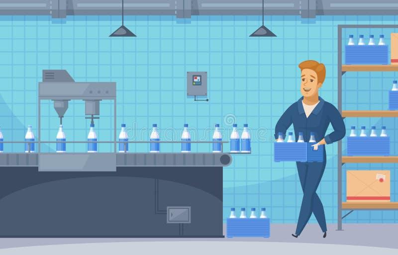 牛奶传动机线动画片构成 向量例证