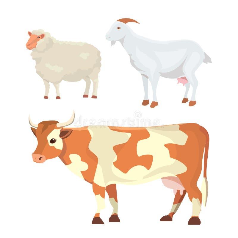 牛奶动物隔绝了集合 向量例证