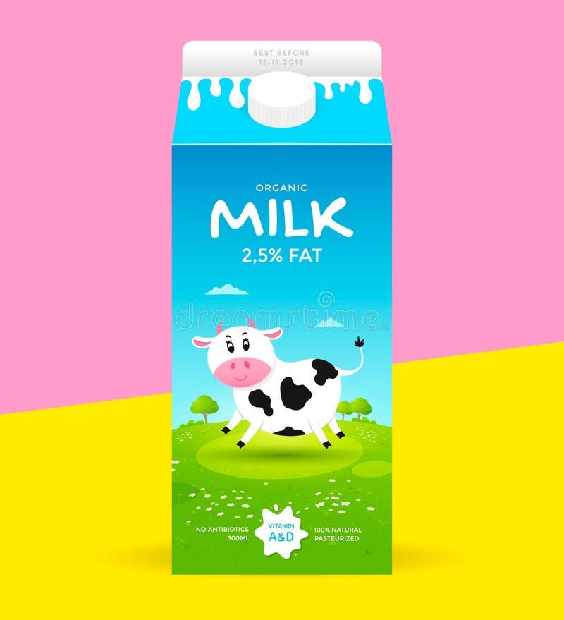 牛奶包裹模板 向量例证