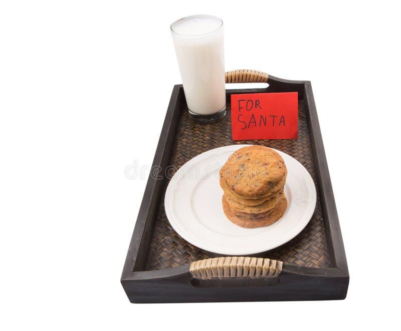 牛奶和家做了圣诞老人的曲奇饼II 库存照片