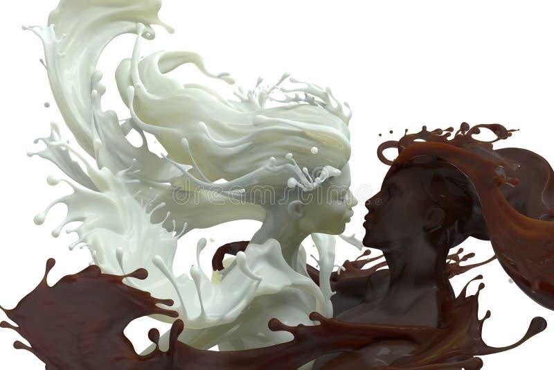 牛奶和巧克力咖啡男性和女性3d雕塑 向量例证
