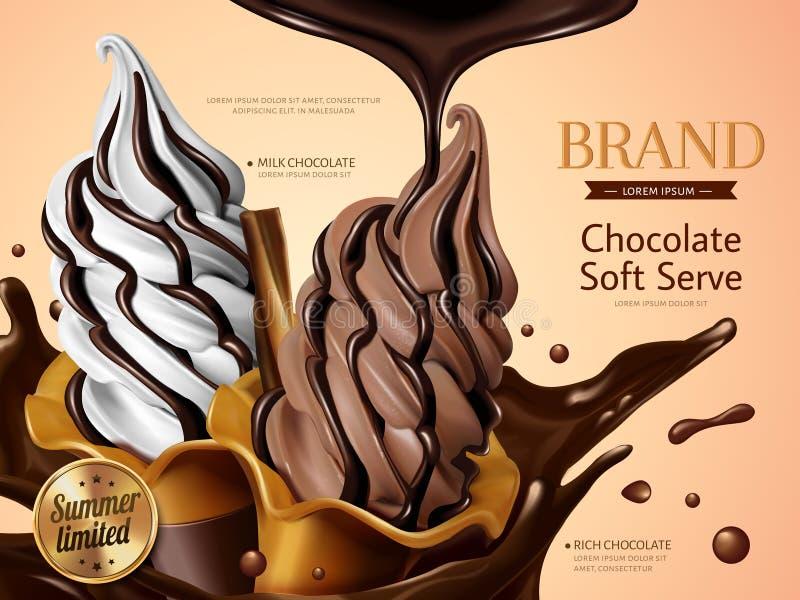 牛奶和巧克力软的服务 皇族释放例证