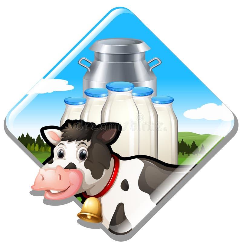 牛奶店与标志的奶牛 向量例证