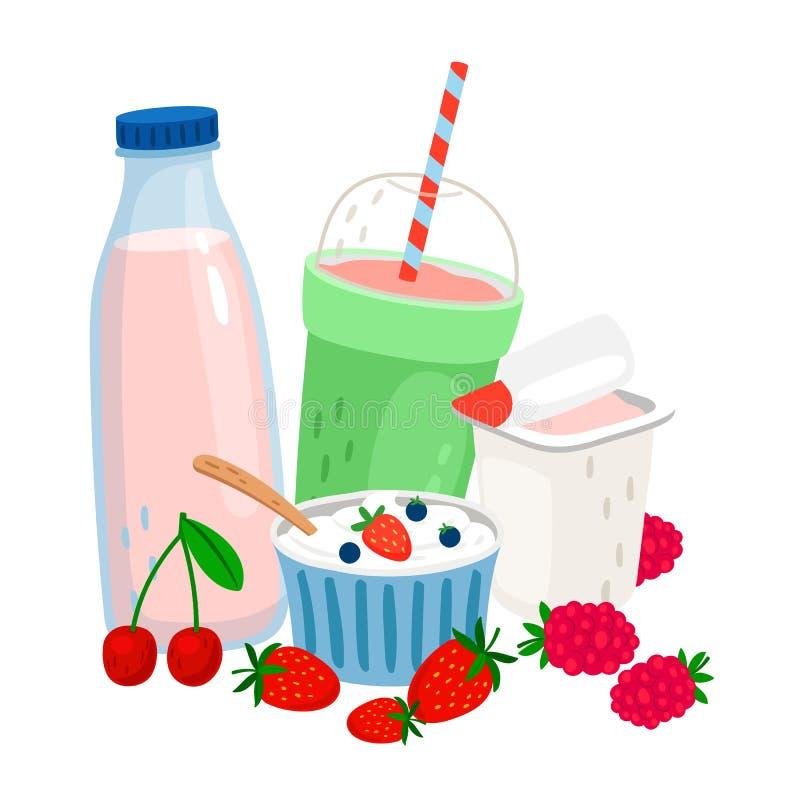 牛奶店和莓果 牛奶,酸奶,奶油,新鲜的莓果导航例证 向量例证
