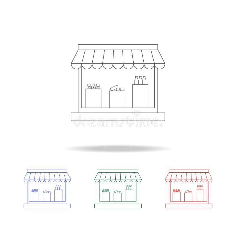 牛奶店商店象 杂货店的元素多色的象的 优质质量图形设计象 网站的简单的象 皇族释放例证