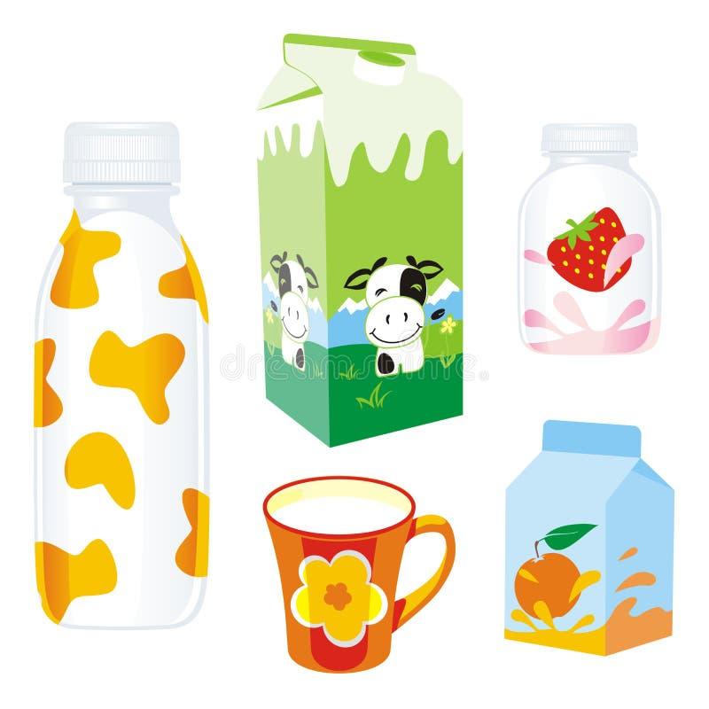 牛奶店查出的产品 库存例证