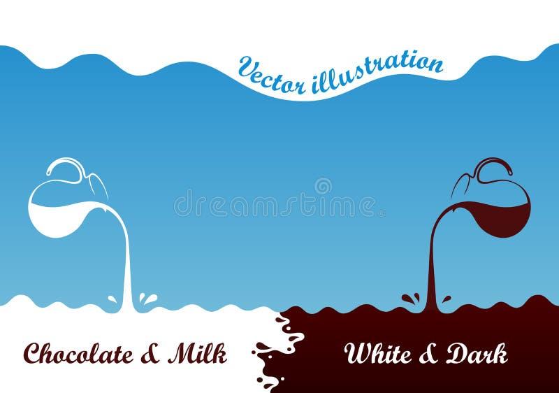 牛奶热巧克力从水罐流动 浪花下落挥动白色和棕色在蓝色背景 皇族释放例证