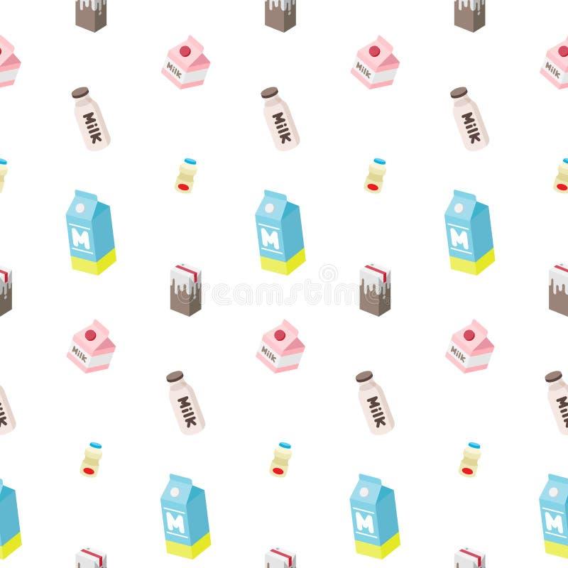 牛奶瓶汁液酸奶无缝的样式隔绝了墙纸背景白色 皇族释放例证