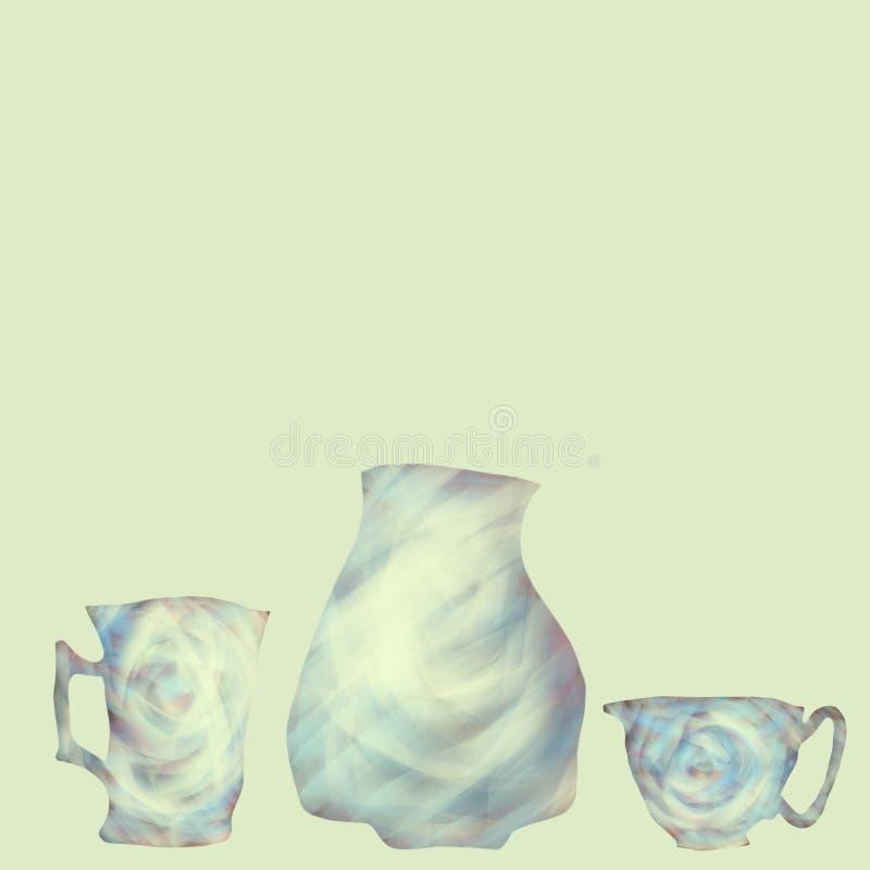 牛奶罐和杯子茶的 茶喝的数字例证 r 向量例证