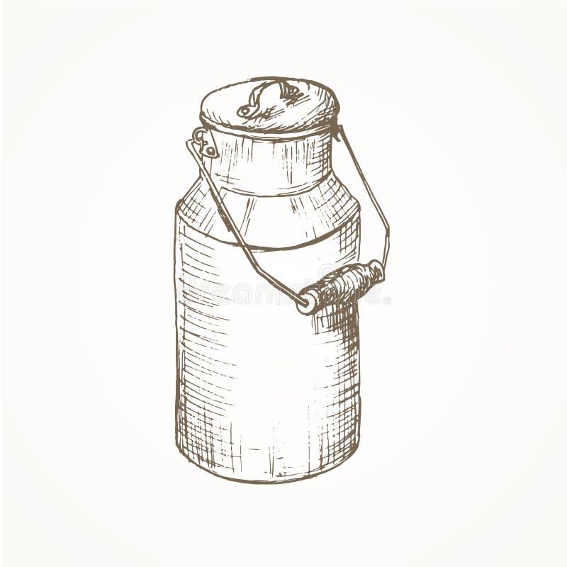 牛奶装剪影于罐中 库存例证