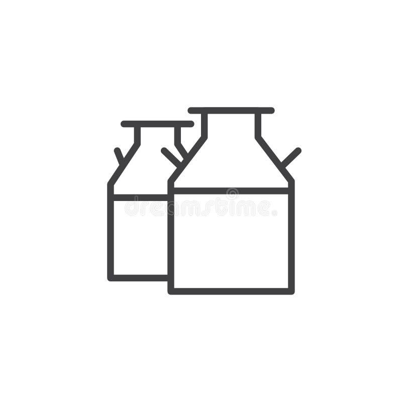 牛奶装线象于罐中 皇族释放例证