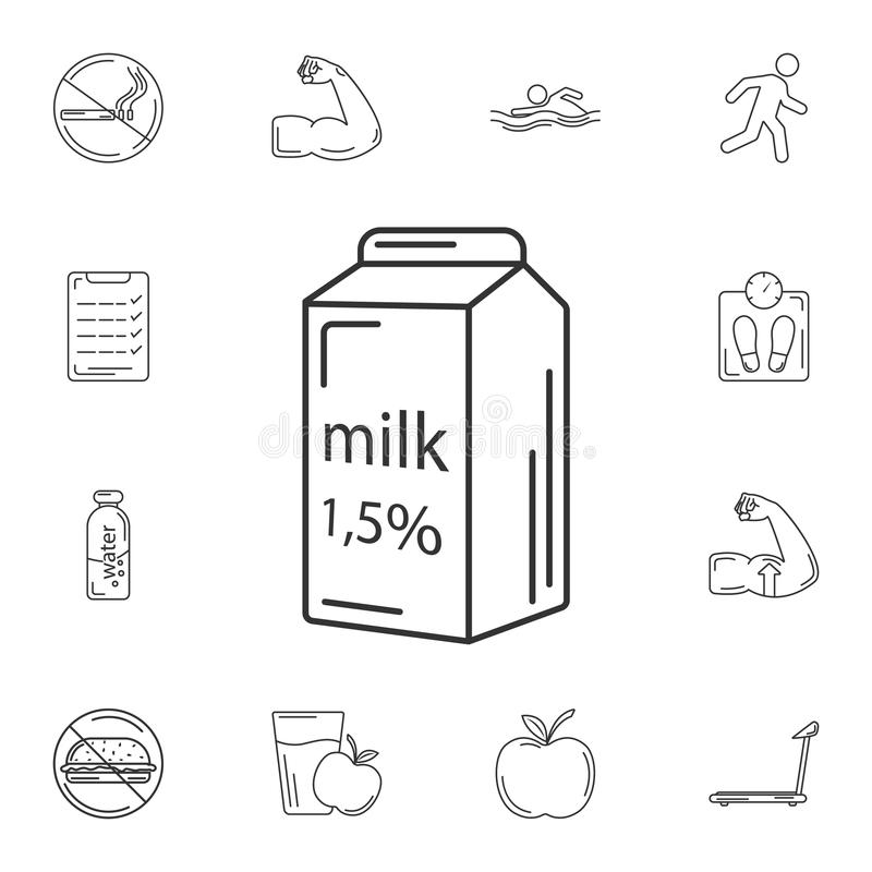 牛奶象 简单的元素例证 牛奶从健身房和健康汇集的标志设计集合 能为网和机动性使用 库存例证