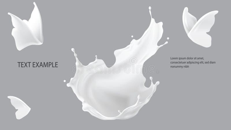 牛奶飞溅、冠形状和蝴蝶剪影 皇族释放例证