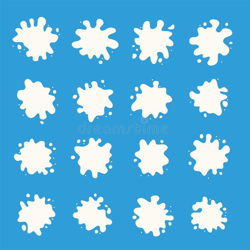 牛奶飞溅汇集,白色飞溅 向量例证
