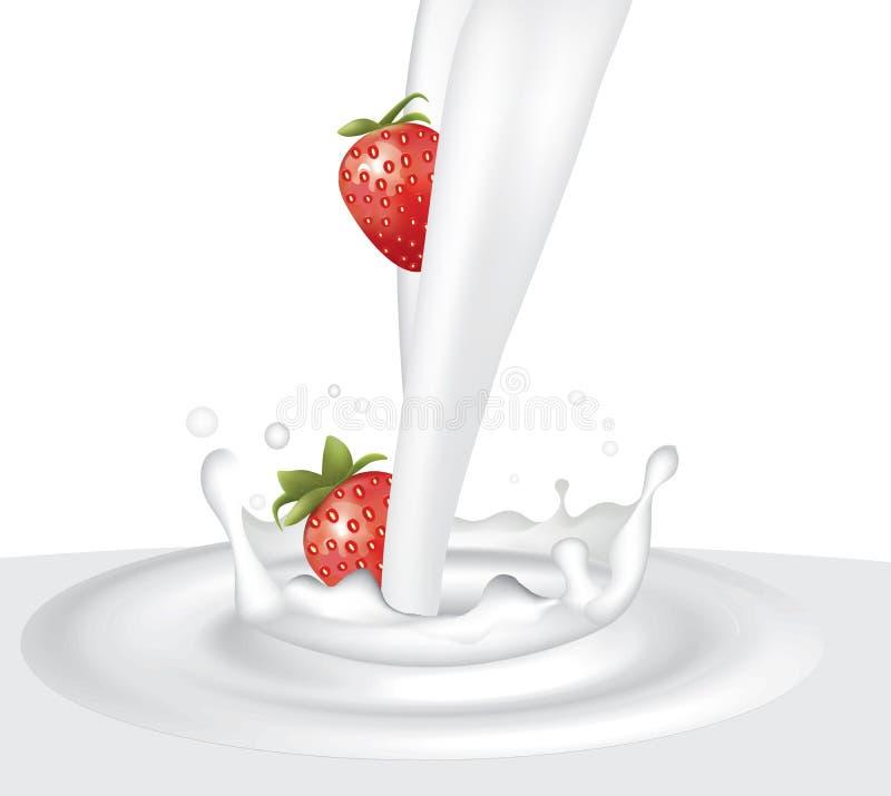 牛奶飞溅用草莓 向量例证