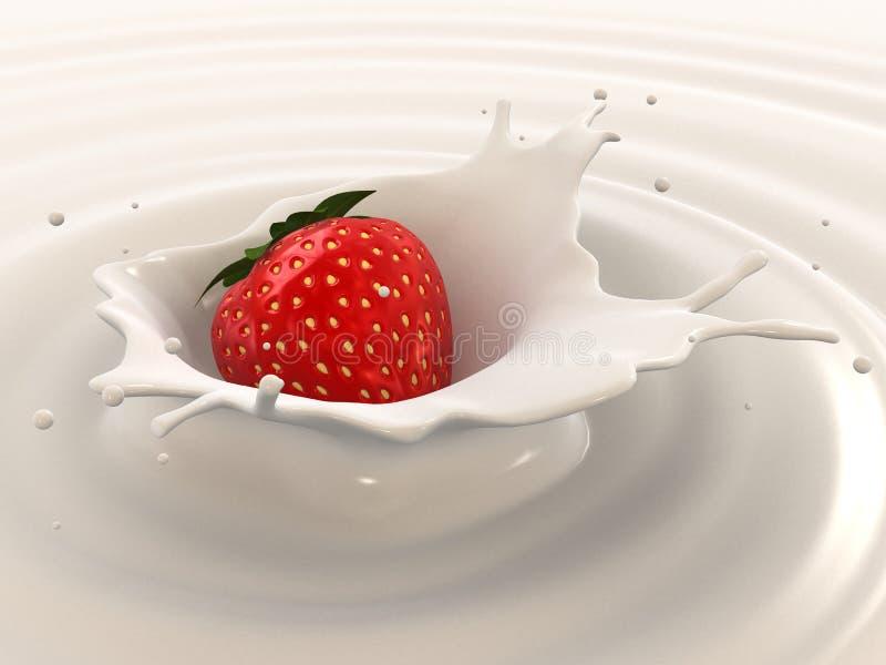 牛奶飞溅草莓 皇族释放例证