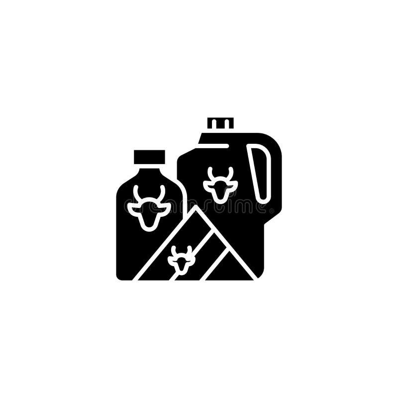 牛奶黑象概念 挤奶平的传染媒介标志,标志,例证 库存例证