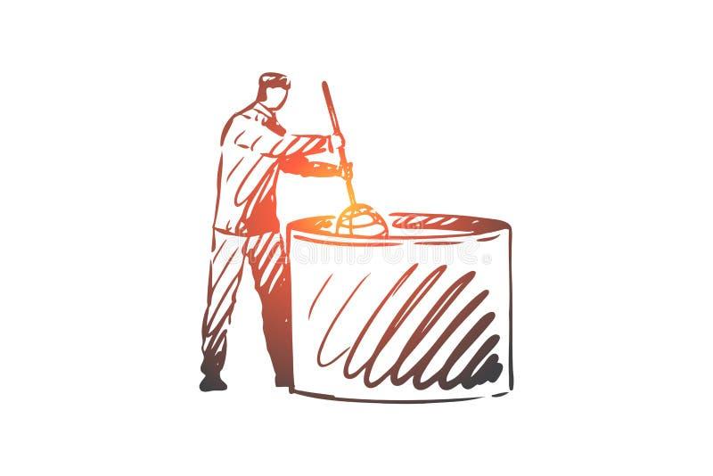 牛奶,乳酪,食物,生产,工作者概念 手拉的被隔绝的传染媒介 库存例证