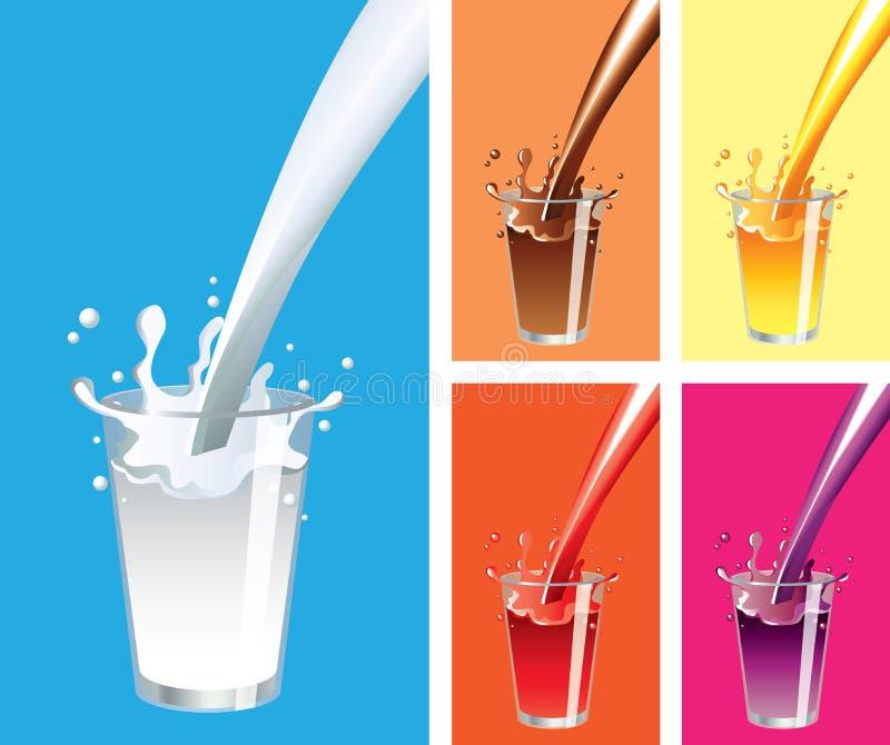 牛奶,汁液飞溅和玻璃集合 皇族释放例证