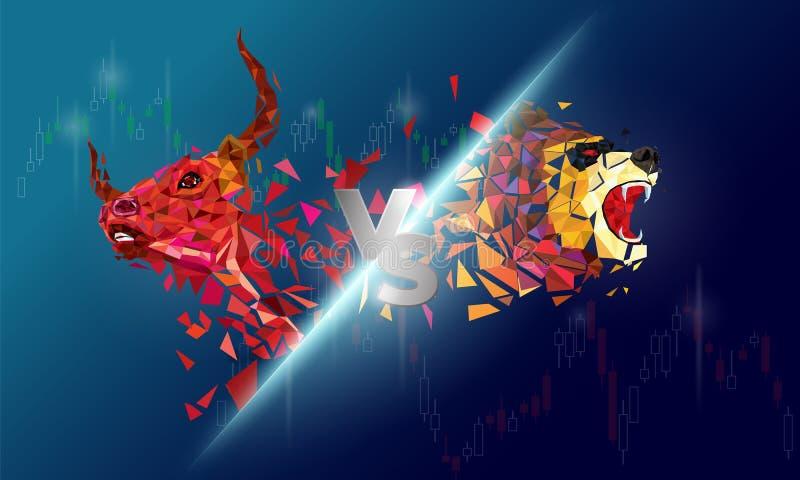 牛市与熊市摘要传染媒介例证 股票市场看涨和下跌趋向的图形设计概念 库存例证