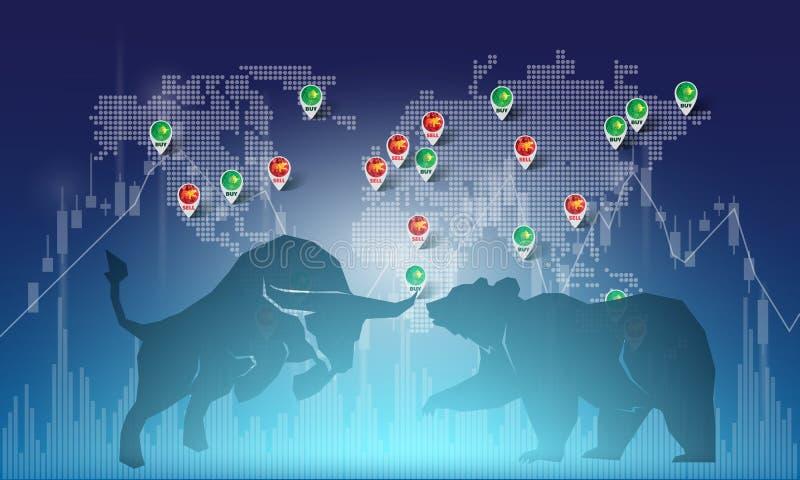 牛市与熊市摘要例证 股票市场看涨和下跌趋向的图形设计概念 皇族释放例证