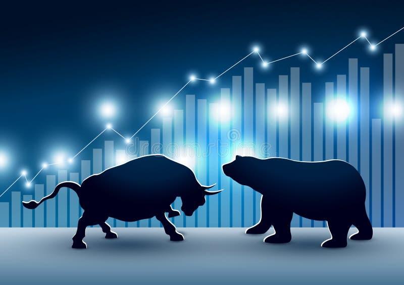 牛市与熊市股票市场设计与图表和图 向量例证
