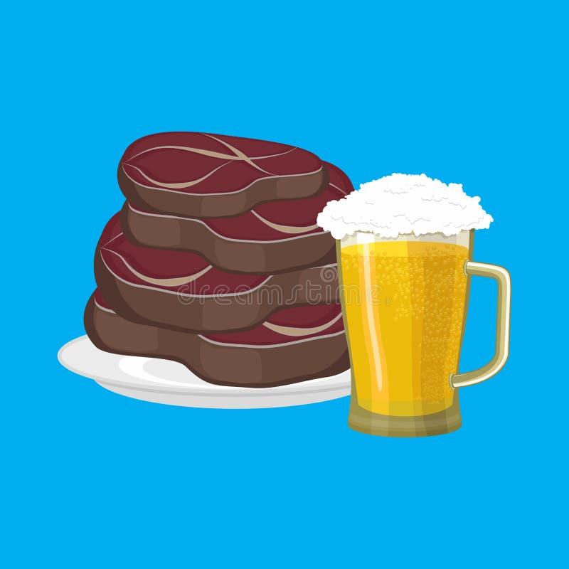 牛排和杯子啤酒 油煎的肉和酒精 传染媒介illustrati 皇族释放例证