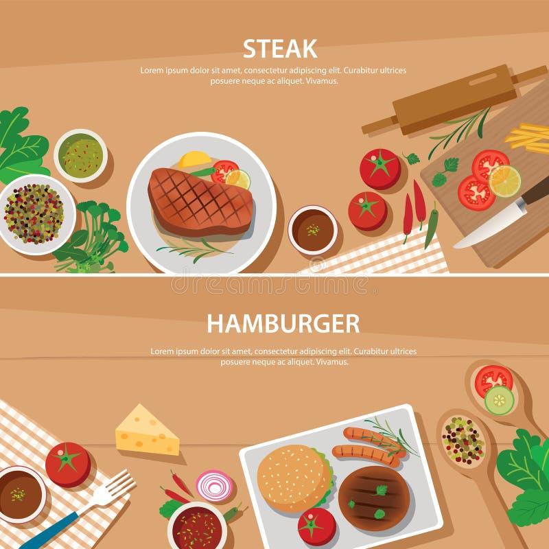 牛排和汉堡包横幅平的设计模板 库存例证