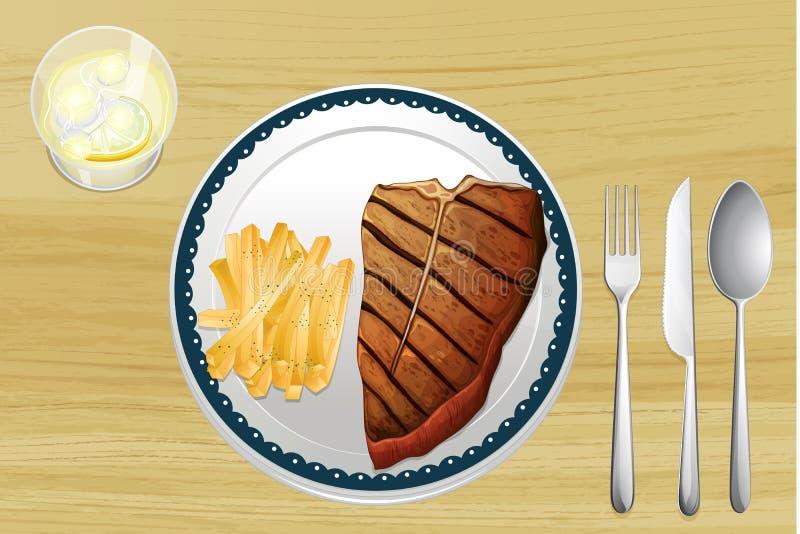 牛排和炸薯条 向量例证