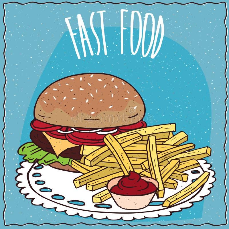 牛排汉堡和炸薯条用番茄酱 库存例证