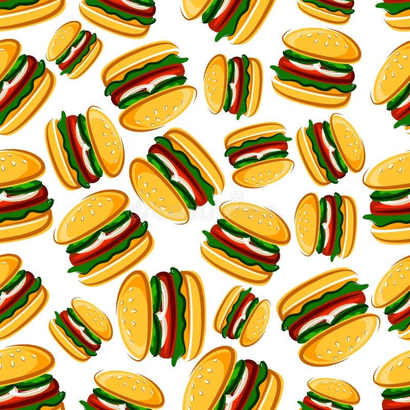 牛排汉堡无缝的样式背景 库存例证