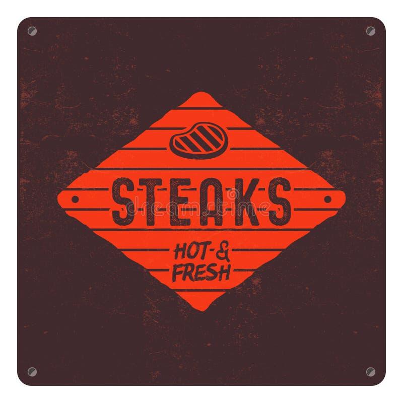 牛排老牌补丁 BBQ减速火箭的海报 烤肉T恤杉设计 活版作用,老牌颜色 BBQ徽章 库存例证