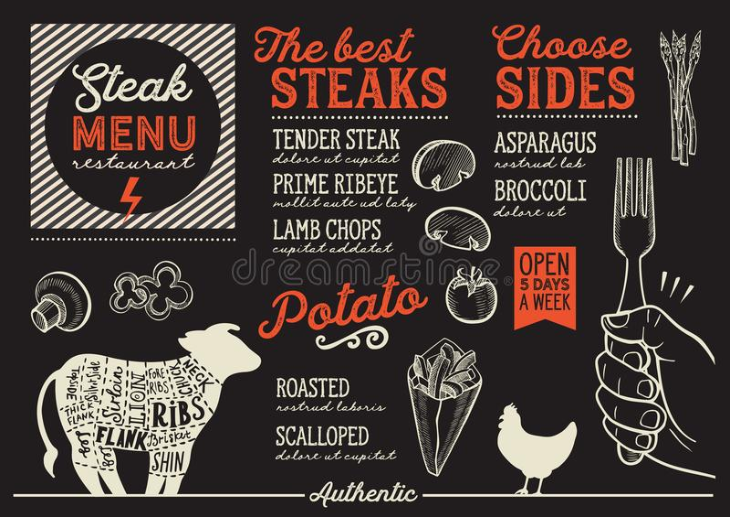 牛排菜单餐馆,食物模板 皇族释放例证