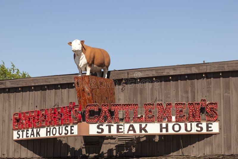 牛排餐厅牧畜者的在沃思堡, TX,美国 免版税库存图片