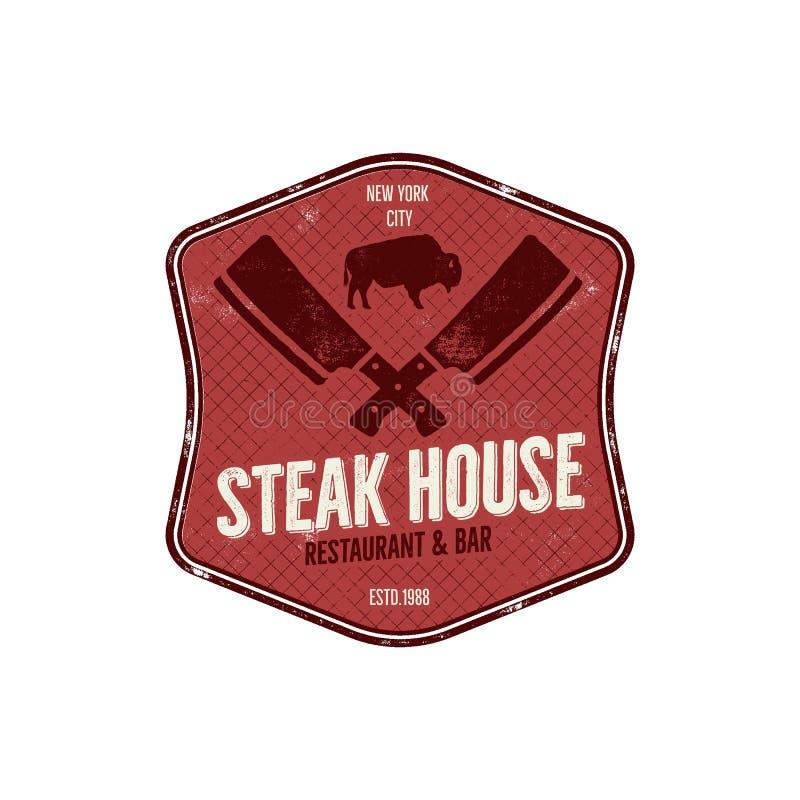 牛排餐厅葡萄酒标签 印刷术活版设计 传染媒介牛排餐厅减速火箭的商标 包括的bbq格栅标志为 向量例证