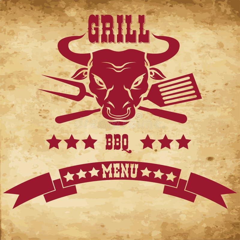 牛排餐厅餐馆菜单设计元素 向量例证