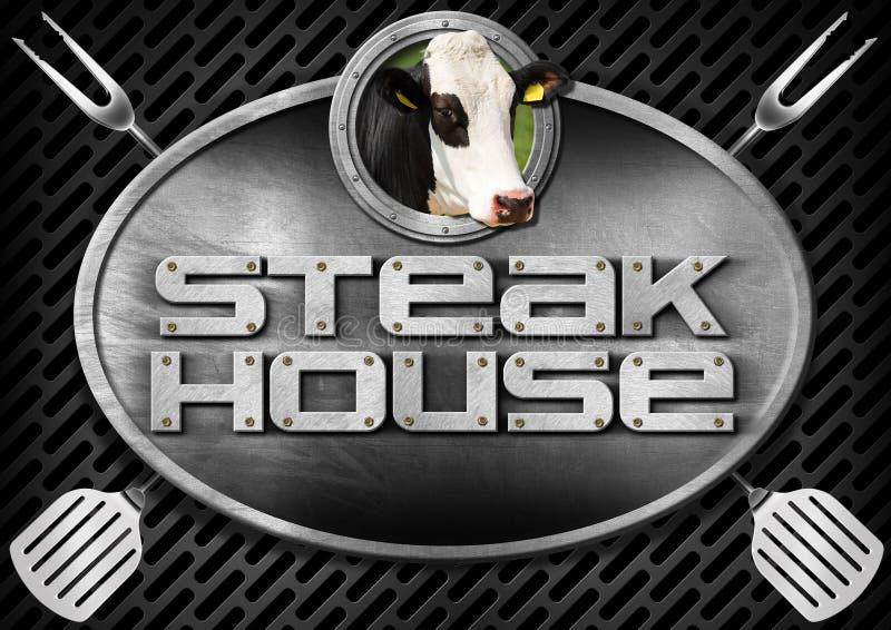 牛排餐厅-与厨房器物的标志 库存例证