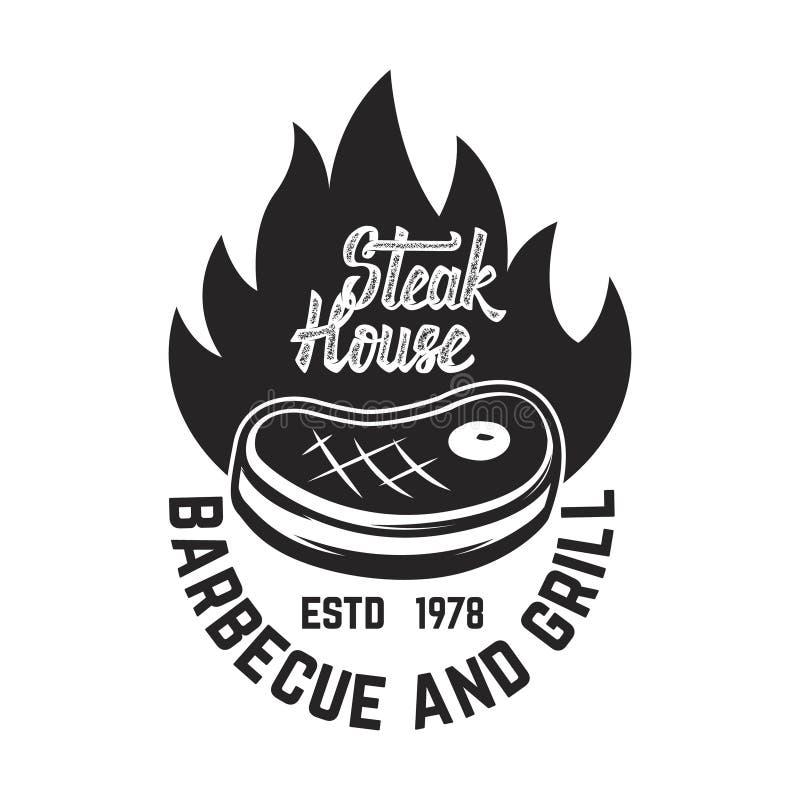 牛排餐厅 Cutted肉和横渡的切肉刀 设计商标的,标签,象征元素 库存例证