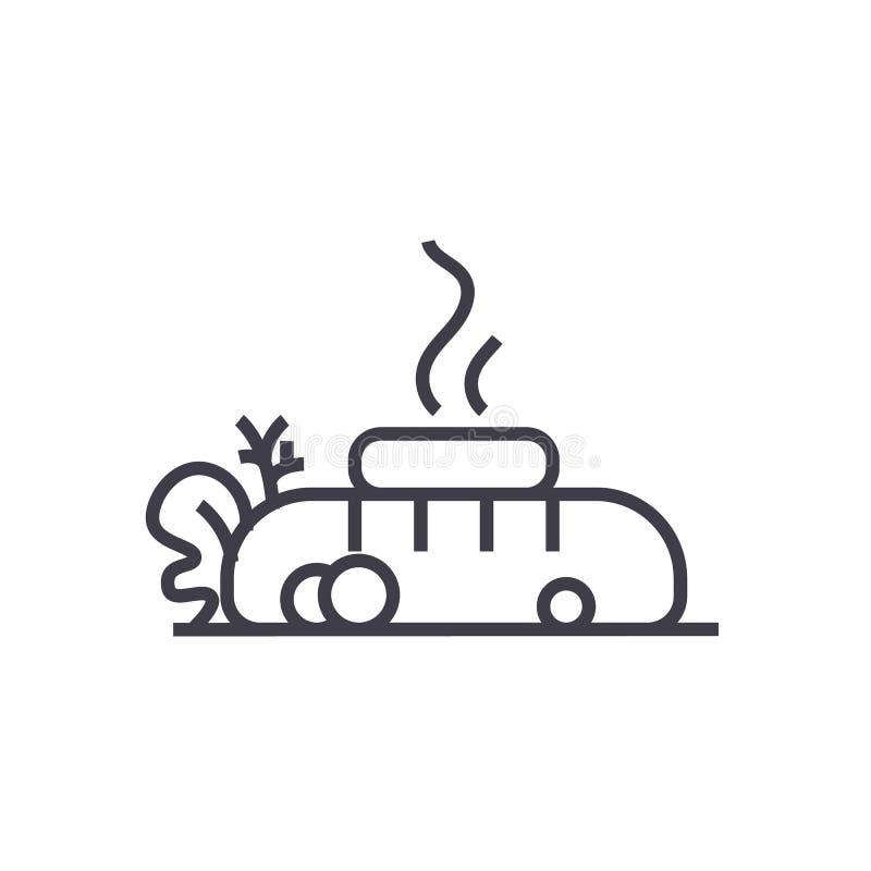 牛排,肉油煎了,与黄油传染媒介线象,标志,在背景,编辑可能的冲程的例证的面包 库存例证